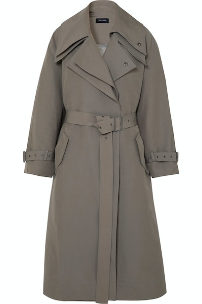 Belted Layered Canvas Trench Coat