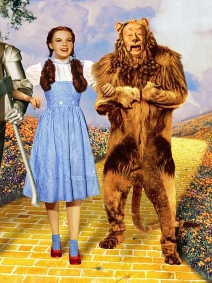 How to dress like Dorothy and the Cowardly Lion from 'The Wizard of Oz' for a matching Halloween costume with your dog.