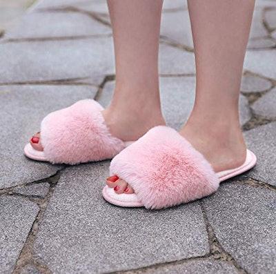 LongBay Faux Bunny Fur Memory Foam House Slippers