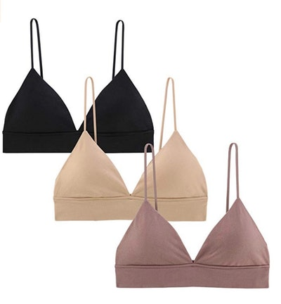 INIBUD Wire Free Pull On Bralettes (3-Pack)