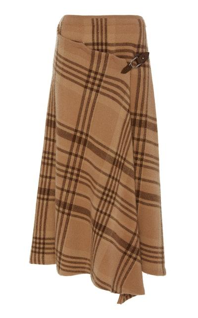 Wrap Effect Asymmetric Checked Wool Midi Skirt