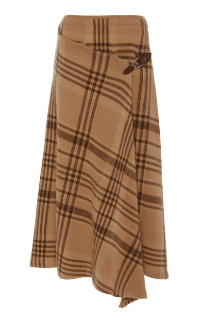 Wrap Effect Asymmetric Checked Wool Midi Skirt