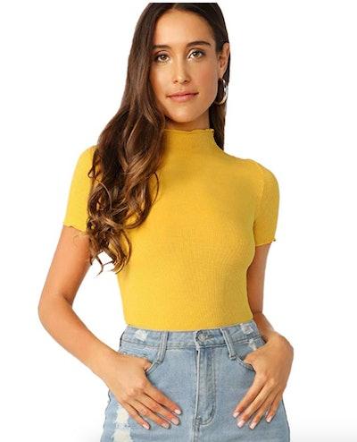 SheIn Women's Mock-Neck T-Shirt