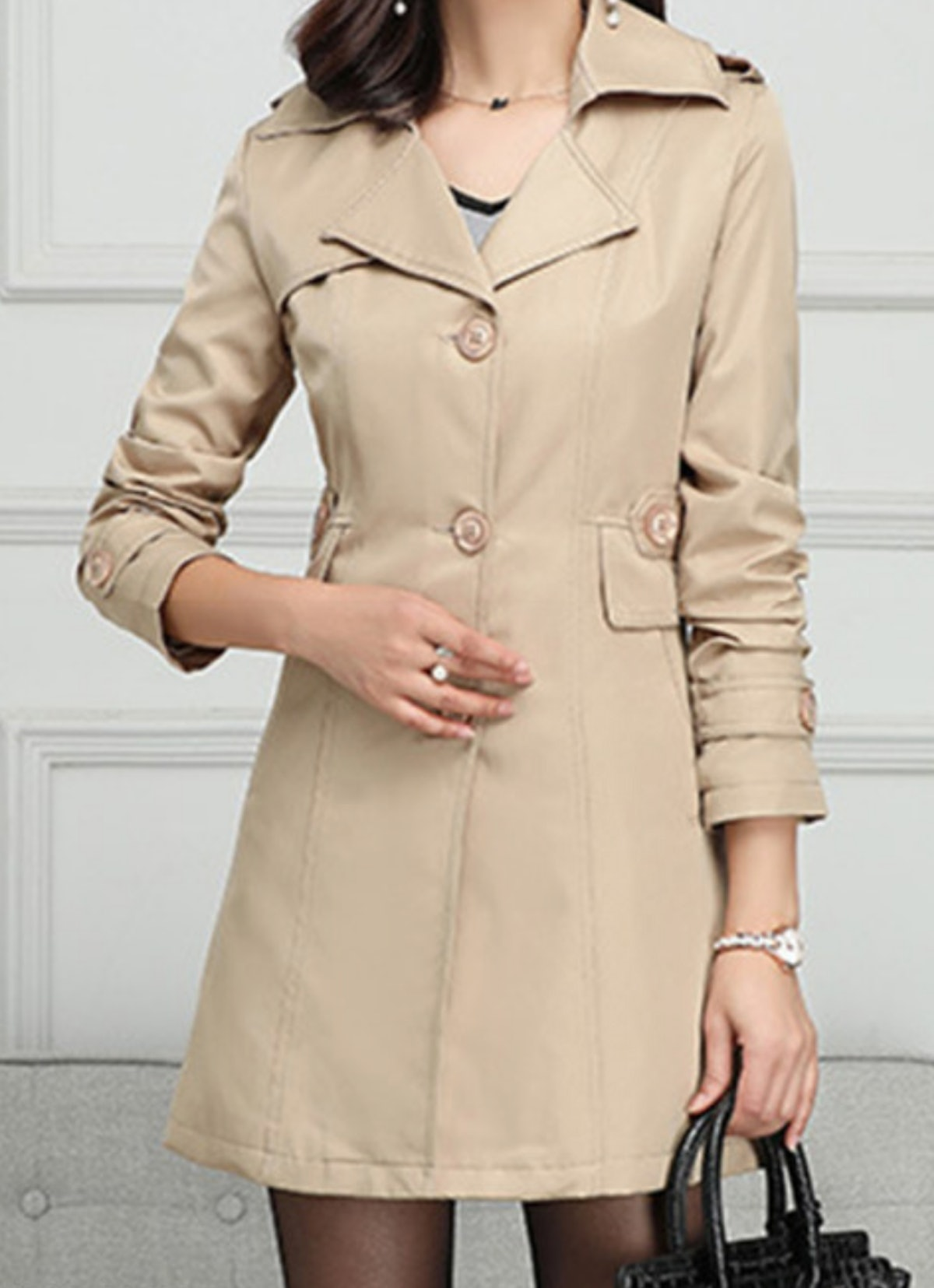 Single Breasted Plain Trench Coat