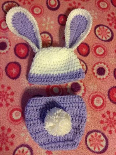 NICU Micro Preemie Little Bunny Hat and Diaper Cover