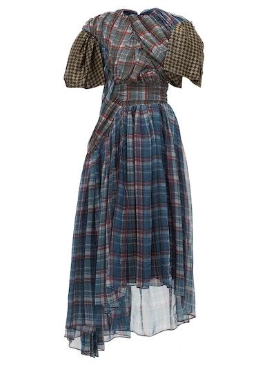Brianna Checked Draped Chiffon Dress