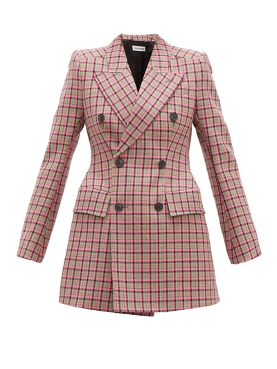 Hourglass Double-Breasted Wool Blazer