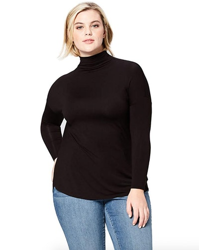 Daily Ritual Women's Plus Size Jersey Long-Sleeve Turtle Neck Shirt