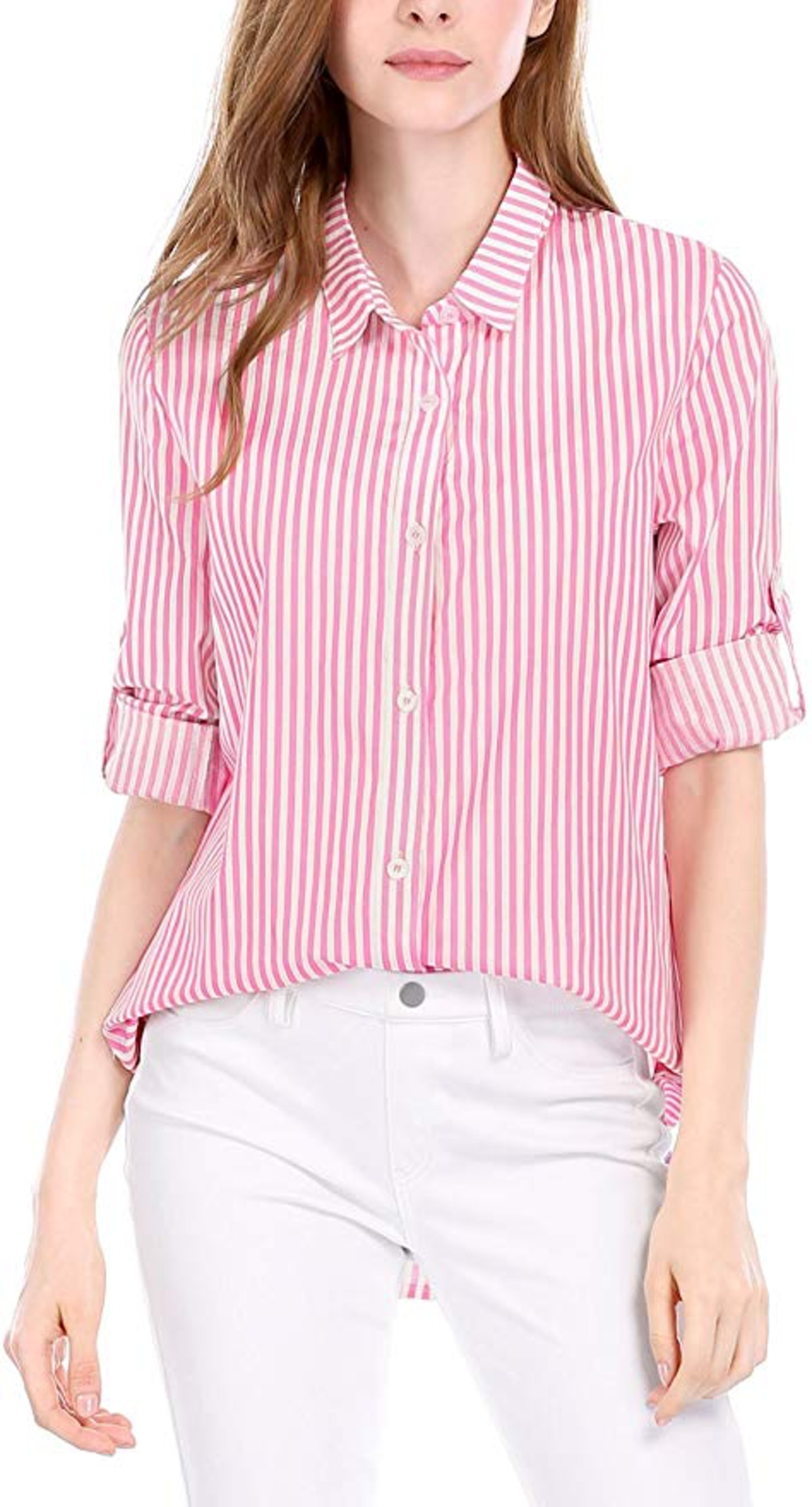 Allegra K Women's Vertical Stripes Button Down