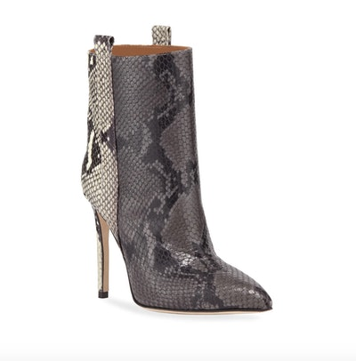 Snake-Embossed Leather Stiletto Booties