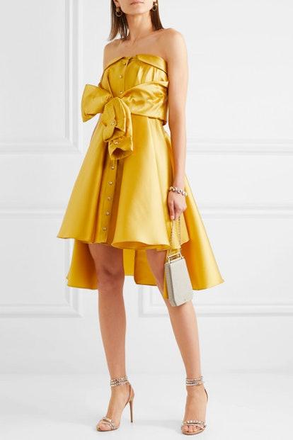 Bow-Detailed Satin-Twill Mini Dress