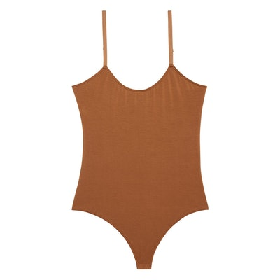 "Spaghetti Strap Thong Bodysuit in ""Cinnamon"""