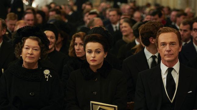 Helena Bonham Carter plays Princess Margaret in 'The Crown,' alongside Marion Bailey and Ben Daniels.