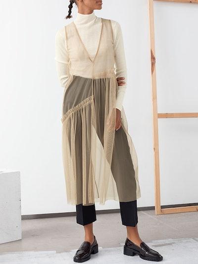 Mesh Asymmetric Ruffled Midi Dress