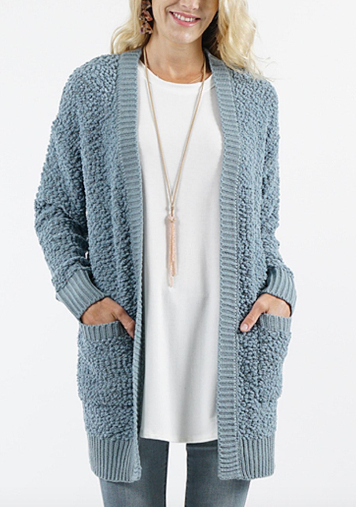 Blue Gray Knit Cardigan