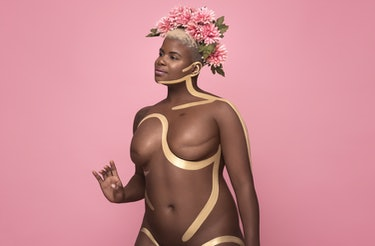 breast cancer awareness month confident african american woman double mastectomy scars body art pain...