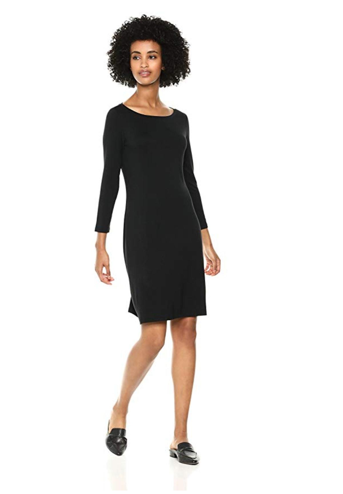 Daily Ritual Women's Jersey 3/4-Sleeve Bateau-Neck T-Shirt Dress