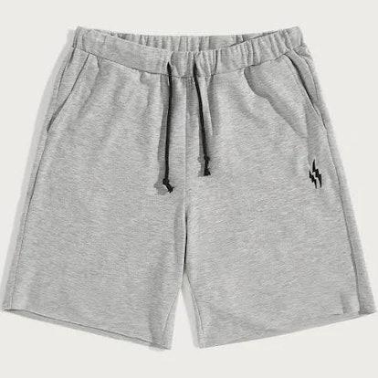 Guys Drawstring Waist Heather Grey Embroidered Sweat Shorts