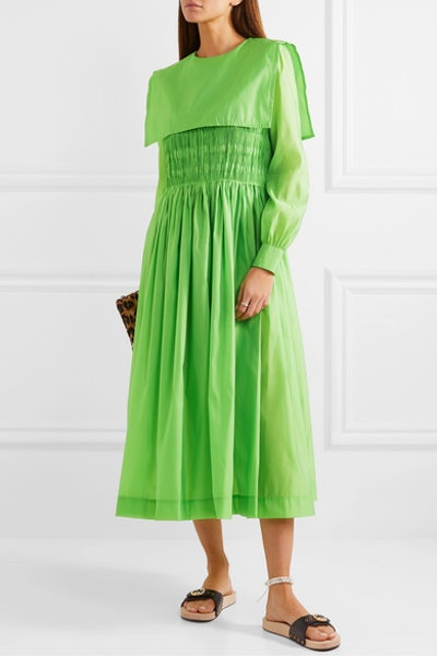 Robert Shirred Taffeta Midi Dress