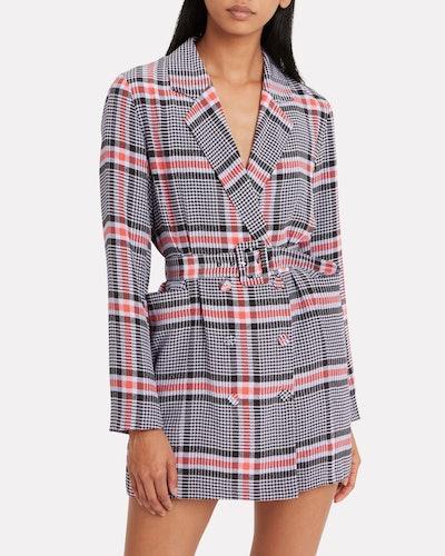 Belted Silk Crepe Blazer Dress