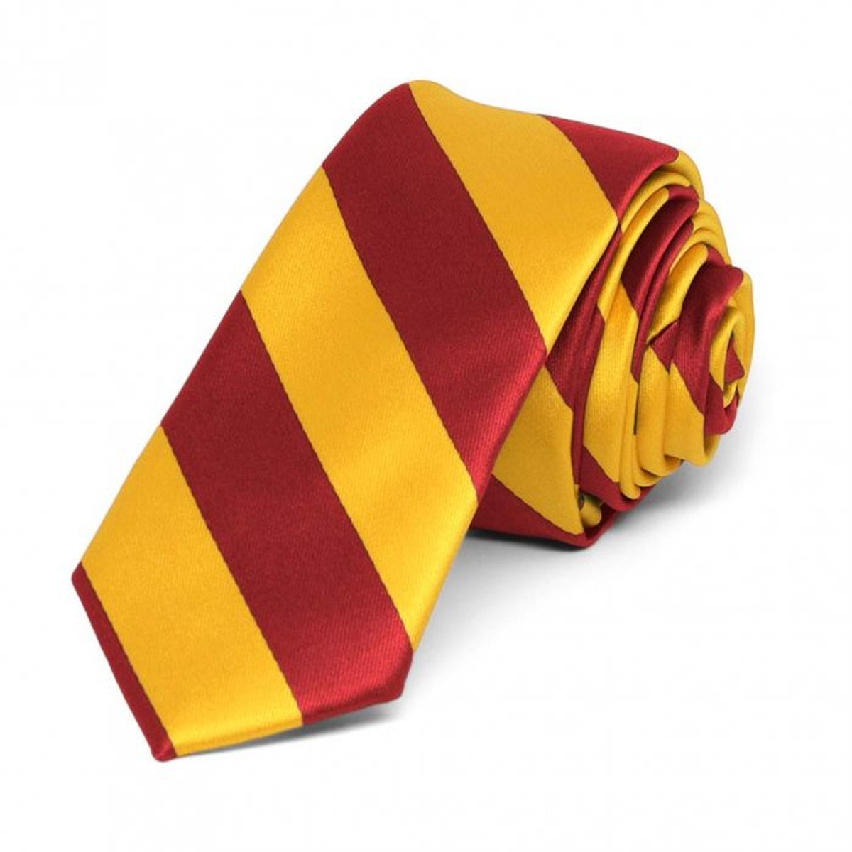 """Red and Golden Yellow Striped Skinny Tie, 2"""" Width"""