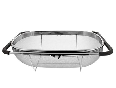 U.S. Kitchen Supply Over-The-Sink Oval Colander With Fine Mesh