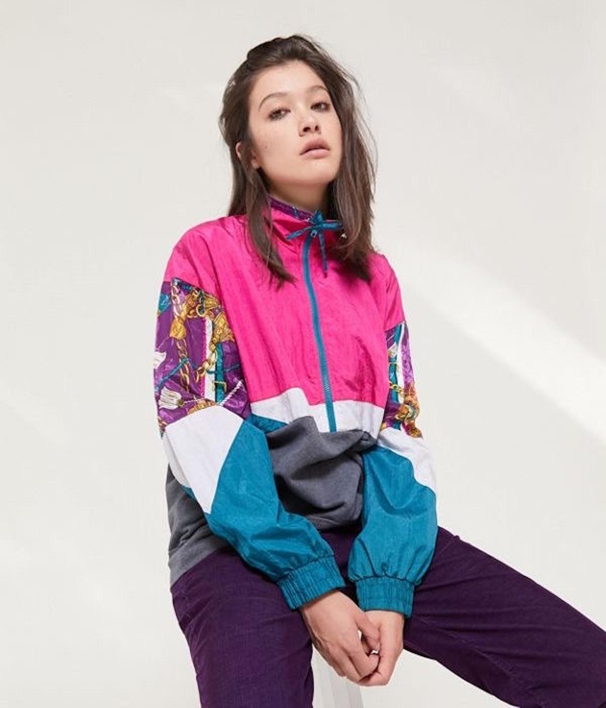 Urban Renewal Remade Spliced Print Windbreaker Sweatshirt