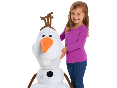 The Frozen 2 giant Olaf plush stands 32 inches tall.