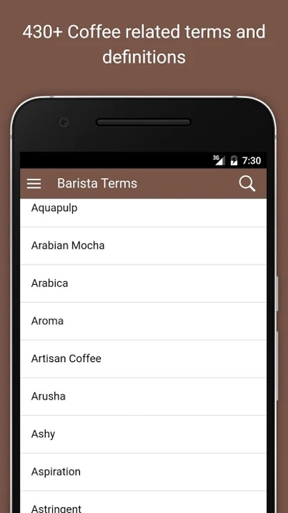The Barista Coffee Dictionary app is one that allows users to find definitions of different coffee-related terms.