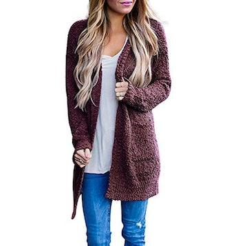 MEROKEETY Chunky Knit Cardigan Sweater