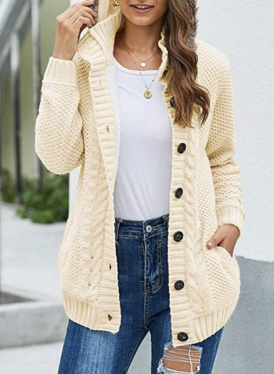 Sidefeel Hooded Cable Knit Cardigan