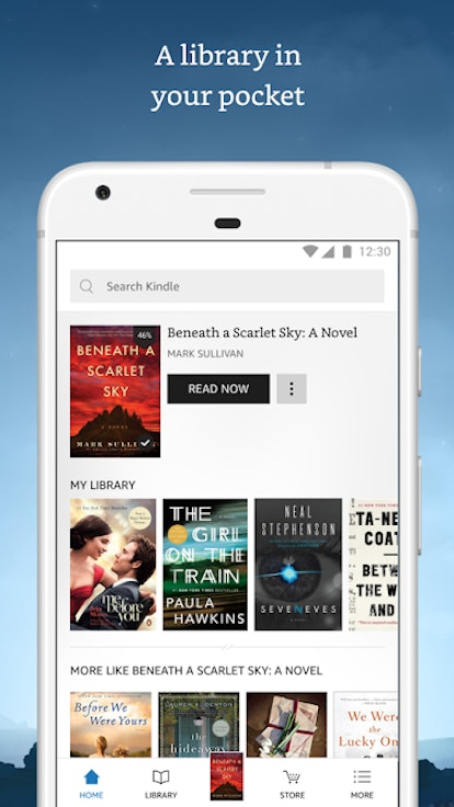 The Amazon Kindle app lets you choose from a selection of more than 6 million reads.