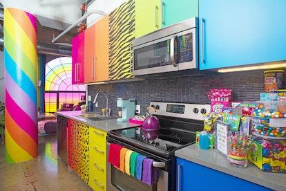 Hotels.com's Lisa Frank flat kitchen in Los Angeles, California