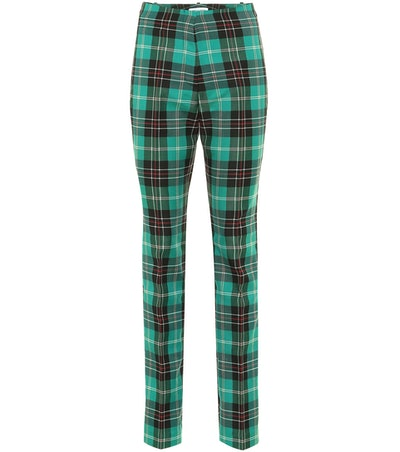 Checked Twill Straight Pants