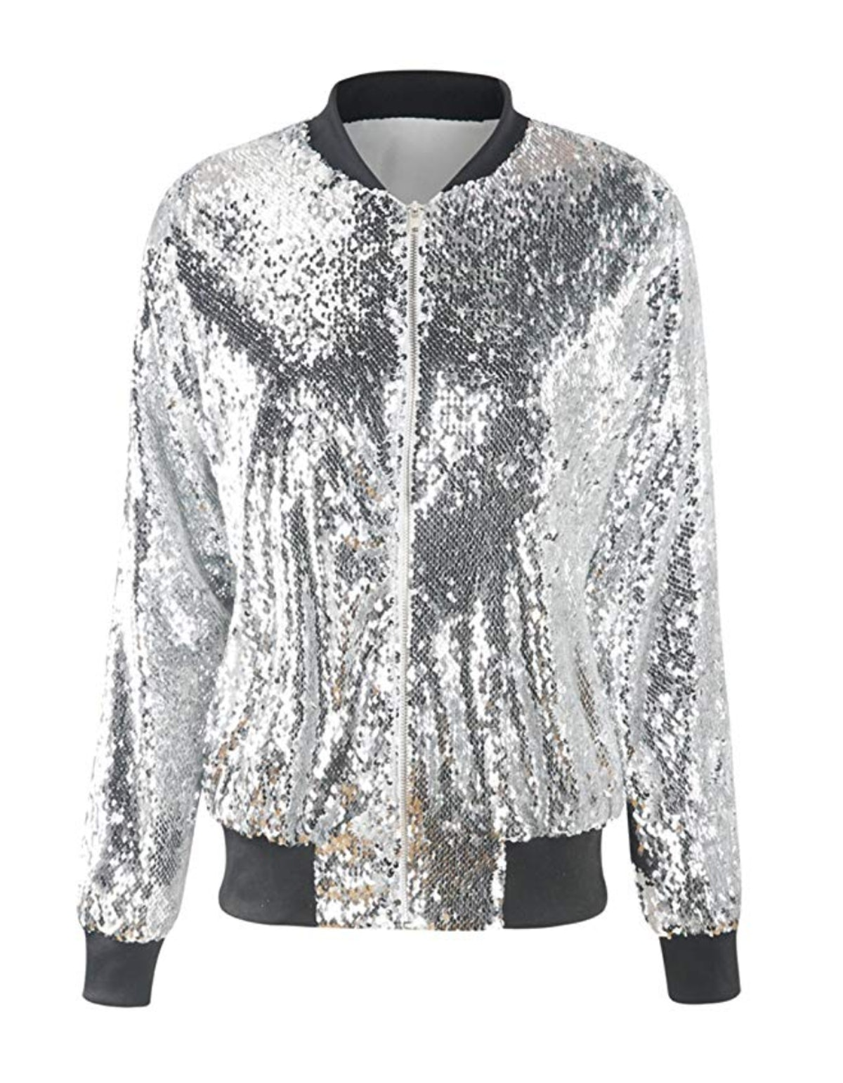 ASMAX HaoDuoYi Womens Sparkle Mermaid Sequin Long Sleeve Zipper Front Bomber Jacket