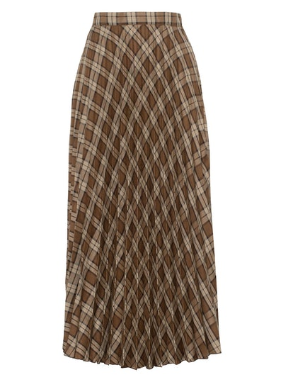 Brown Plaid Pleated Skirt
