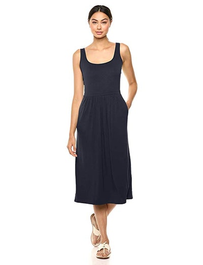 Daily Ritual Jersey Sleeveless Empire-Waist Midi Dress