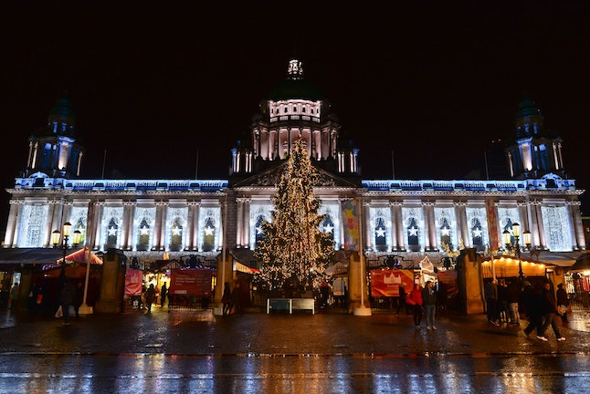 Christmas lights and a giant Christmas tree in Belfast town centre