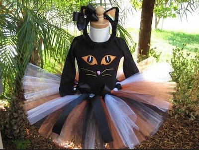 Orange Eyed Sassy Black Kitty Cat Halloween Tutu Costume Set