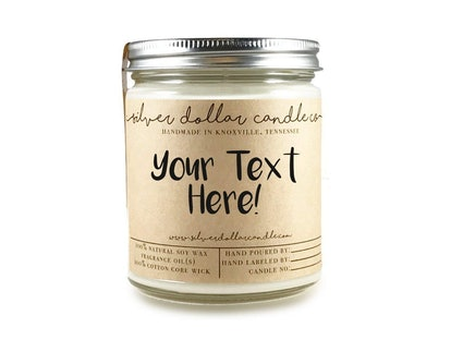 Personalized 8oz Scented Soy Candle by Silver Dollar Candle Co.