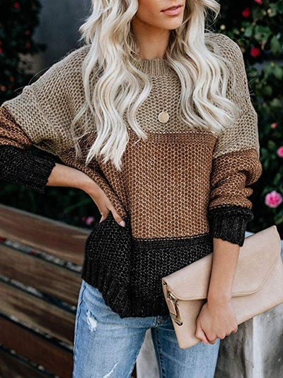 Ybenlow Color Block Crewneck Sweater