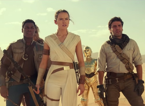 John Boyega, Daisy Ridley, and Oscar Isaac in winter movie release Star Wars The Rise of Skywalker