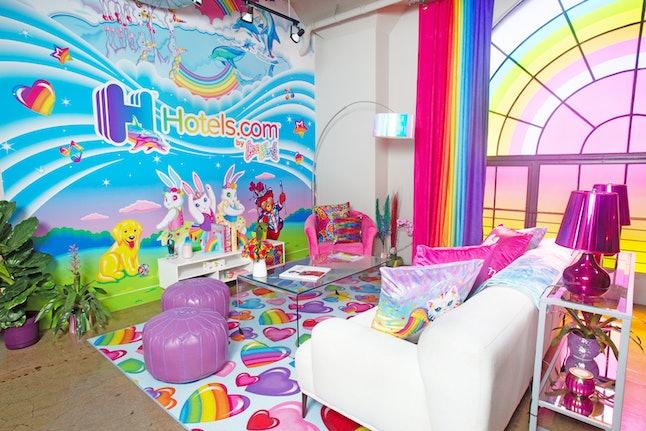 Hotels.com Lisa Frank Flat living room and mural.