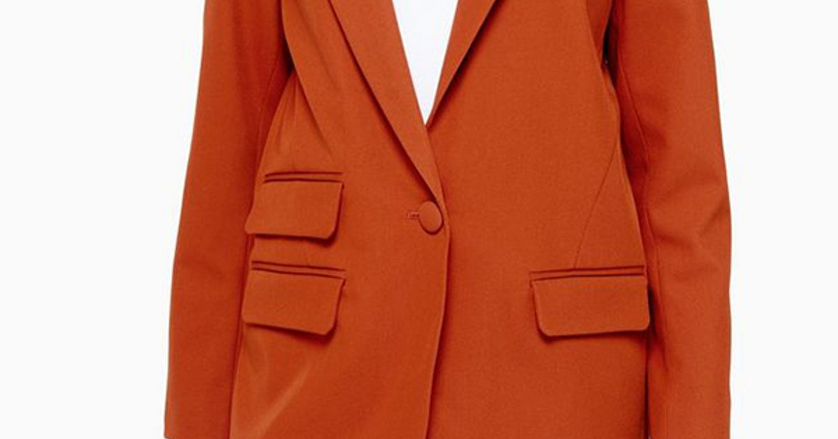 Katie Holmes' Orange Blazer Is The Mango Find Your Closet Needs (& It's Still In Stock)