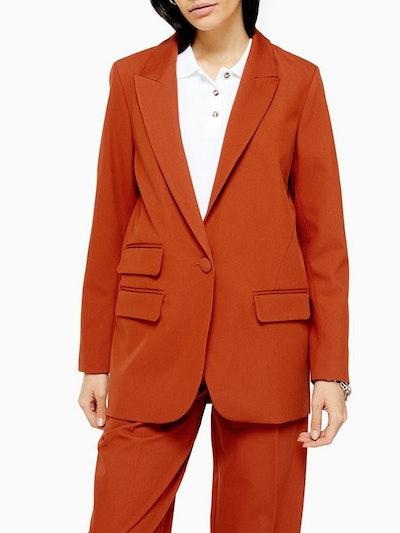 Orange Single Breasted Blazer
