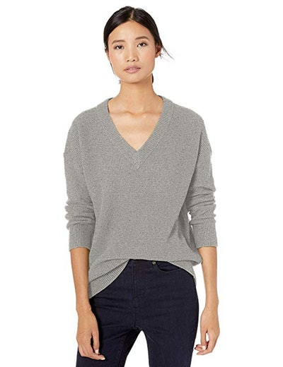 Goodthreads Wool Blend Thermal Stitch V-Neck Sweater