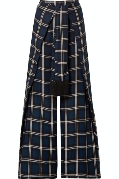 Georgina Tie-Front Checked Twill Wide-Leg Pants