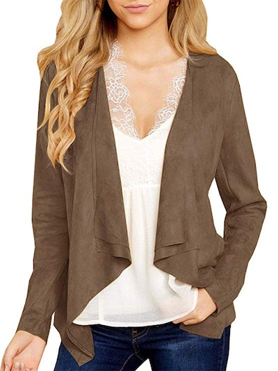 Tutorutor Open Front Faux Suede Jacket