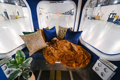 The interior design of the Goodyear Blimp Airbnb listing.