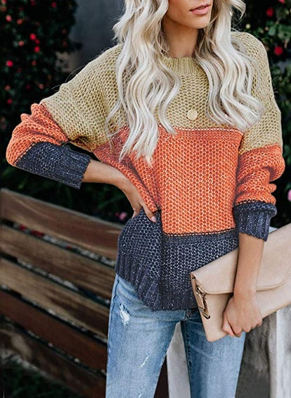 Lovezesent Color Block Pullover Sweater
